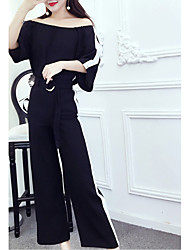 Chemisier Pantalon Costumes Femme,Couleur Pleine Sortie simple Manches 3/4 Sans Bretelles