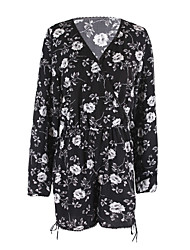 ANGELL Women's High Rise Going out Holiday RompersStreet chic Loose Floral Spring Summer