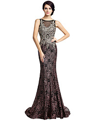 Trumpet / Mermaid Mother of the Bride Dress Sweep / Brush Train Sleeveless Lace Sequined with Lace