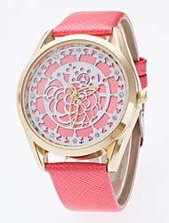 Women's Circular Three-Dimensional Art Flower Panface Casual And Fashionable Set Of Bright Leather Watch
