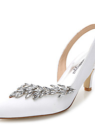Women's Heels Summer Fall Slingback Silk Wedding Outdoor Office & Career Party & Evening Dress Casual Stiletto HeelRhinestone Crystal