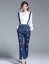 FRMZ Women's Loose Overalls PantsGoing out Cute Striped High Rise Zipper Cotton Inelastic Spring Summer