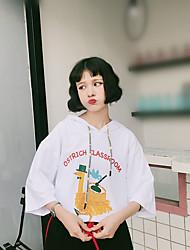 Damen Solide Einfach Lässig/Alltäglich T-shirt,Mit Kapuze ½ Länge Ärmel Baumwolle