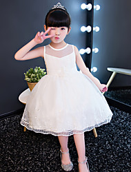 Princess Knee-length Flower Girl Dress - Cotton Lace Tulle Jewel with Beading Flower(s) Lace