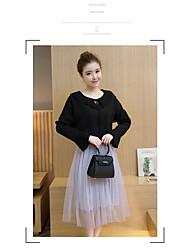 Damen einfarbig Einfach Lässig/Alltäglich Shirt Rock Anzüge,Rundhalsausschnitt Herbst Baumwolle