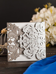 Silver Hollow Laser Cutting Wedding Party Invitations Card With Envelope Bridal Engagement Invitations LC058