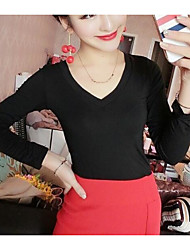 Women's Casual/Daily Simple Blouse,Solid V Neck Long Sleeve Cotton Bamboo Fiber Spandex