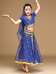 Belly Dance Outfits Kid's Performance Chiffon Spandex Coins Rhinestones Sequins 5 Pieces Long Sleeve Natural Top /Hip Scarf /Skirt /Headpieces /Veil