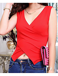 Women's Going out Holiday Vintage Simple Summer Tank Top,Solid V Neck Sleeveless Others Thin