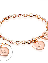 I love hot supply South Korea rose gold bracelet titanium female Christmas boutique can be lettering GS847