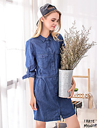 Women's Casual/Daily Holiday Denim Dress,Solid Square Neck Above Knee Long Sleeve Others Spring Summer Mid Rise Inelastic Medium