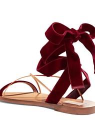 Sandálias de verão slingback PU casual vermelho preto