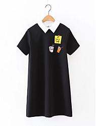 Для женщин На выход На каждый день Простое Уличный стиль Свободный силуэт Прямое Футболка Платье Однотонный С принтом,Рубашечный воротник