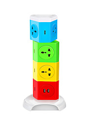 ABS Colorful Power Strip 8 Port With 2 USB Charging Port 180 Degree Free Rotation Over Range Protection