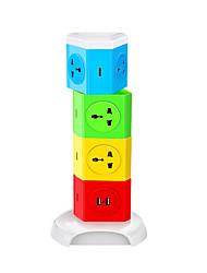 Bande de puissance couleur abstraite 8 ports avec 2 ports de chargement usb 180 degrés de rotation libre sur la protection de la gamme