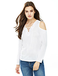 Women's Off The Shoulder|Lace up|Cut Out Casual/Daily Sexy Fall Winter T-shirt,Solid V Neck Long Sleeve Red White Black Polyester