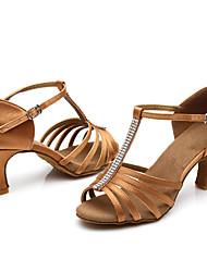 Women's Latin Satin Sandals Indoor Rhinestones Heel Brown Customizable