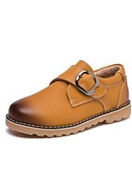 Boys' Sneakers Spring Fall Comfort Cowhide Outdoor Casual Walking Low Heel Magic Tape Dark Brown Yellow Black