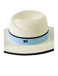 Straw Hats Womens' Letter M Sun Hat Summer Folding Color Block Outdoor Tourism Beach Wide Brim Hat Peaked Cap