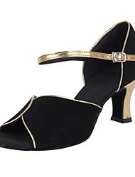 Maßfertigung Damen Latin PU Sandalen Absätze Innen Verschlussschnalle Niedriger Heel Schwarz 5 - 6,8 cm