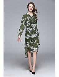 Manteau Femme,Imprimé Quotidien Style floral Printemps Eté Manches longues Col de Chemise Normal Soie Polyester Maille