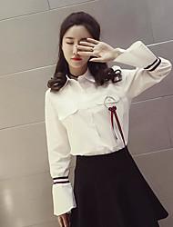 Women's Daily Simple Shirt,Solid Shirt Collar Long Sleeve Cotton