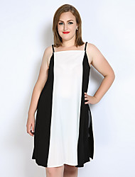 Really Love Women's Plus Size Casual/Daily Club Sexy Vintage Simple Spring Summer Tank Top,Color Block Patchwork Strap Sleeveless PolyesterOpaque