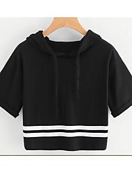 Damen Solide Einfach T-shirt,Mit Kapuze Kurzarm Baumwolle