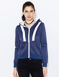 Hoodie Jacket Femme Grandes Tailles Décontracté / Quotidien Actif simple Couleur Pleine Micro-élastique Polyester Manches longues