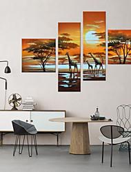 Pintados à mão Paisagens AbstratasContemprâneo Artistíco Abstracto 4 Painéis Tela Pintura a Óleo For Decoração para casa