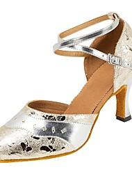 Modern Dance Shoes Women's Latin/Ballroom/Salsa/Tango Dancing Shoes Buckle Stitching Heel Professional Shoe Silver Customizable