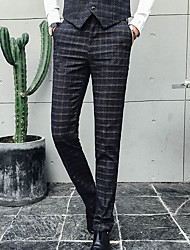Men's High Rise Inelastic Business Pants,Simple Relaxed Plaid