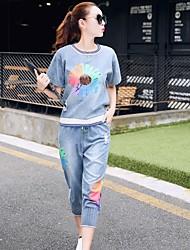 Для женщин На каждый день Лето Как у футболки Брюки Костюмыпросто Радужный Джинса С короткими рукавами Слабоэластичная