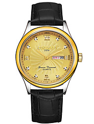 KINGNUOS Men's Fashion Watch Wristwatch Luxucy Elgant Unique Creative Cool Watch Quartz Calendar Business Classic Genuine Leather Band Watches