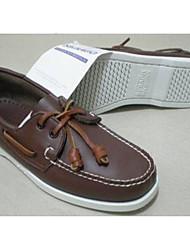 Для мужчин Топ-сайдеры Удобная обувь Тюль Кожа Весна Повседневные Удобная обувь Коричневый На плоской подошве