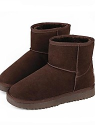 Women's Boots Comfort PU Suede Spring Casual Brown Gray Flat