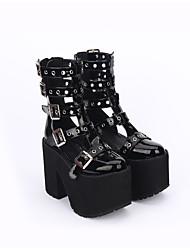 Chaussures Gothique Punk Rétro Lolita Fait à la Main Talon Bottier Couleur unie Chaussures à trous Lolita 13 CM Noir PourCuir PU/Cuir