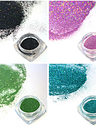 4bottles/set 0.2g/bottle Fashion Colorful Shining DIY Charm Pigment Nail Art Laser Glitter Holographic Fine Powder Gorgeous Decoration JX05-08