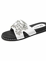 Women's Sandals Creepers PU Summer Outdoor Dress Casual Walking Rhinestone Flat Heel White Black Under 1in