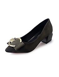 Damen Loafers & Slip-Ons Samt Sommer Herbst Schleife Schnalle Blockabsatz Schwarz Rot Grün Khaki 2,5 - 4,5 cm