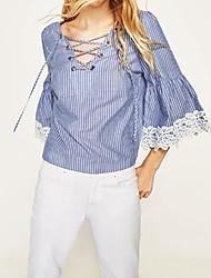 Damen Solide Einfach Normal T-shirt,V-Ausschnitt Baumwolle