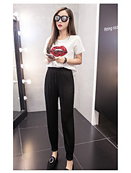 Women's High Waist Micro-elastic Loose Pants,Simple Relaxed Solid