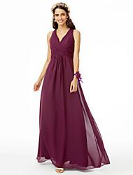 2017 LAN TING BRIDE Floor-length V-neck Bridesmaid Dress - Open Back Sleeveless Chiffon