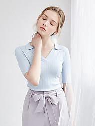 Damen Solide Einfach Normal T-shirt,V-Ausschnitt Halbe Ärmel Polyester