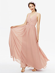 2017 LAN TING BRIDE Floor-length V-neck Bridesmaid Dress - Open Back Sexy Sleeveless Chiffon
