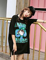 Damen Muster Buchstabe Street Schick Alltag Normal T-shirt,Rundhalsausschnitt ½ Länge Ärmel Baumwolle