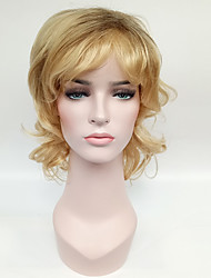 Short Wavy Synthetic Hair Blonde Curly Ombre Syntheitc Wig Dark Root Heat Resistant Synthetic Wigs For Women