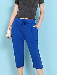 Women's High Rise Inelastic Harem Pants,Simple Harem Solid