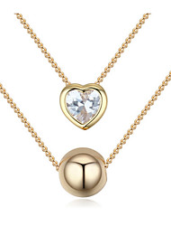 2017 New Euramerican Personalized Luxury Gold Heart Ball Ladys Girls Daily Layered Necklaces Statement Movie Jewelry
