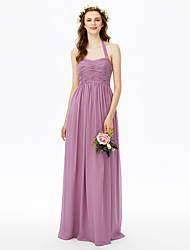 2017 LAN TING BRIDE Floor-length Halter Bridesmaid Dress - Open Back Sleeveless Chiffon